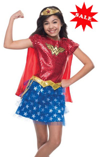 Girls Sequin Wonder Woman Costume for Kids